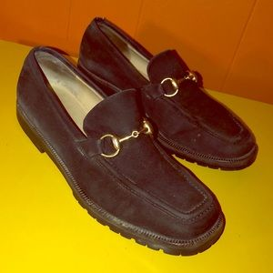 GUCCI Black Suede Horsebit Loafers Italy